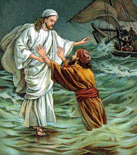 Jesus Christ in white dress in sea walking on water with help with hand to Peter at the ship of dispels color pic