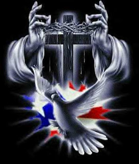 Jesus Christ worship hands around the cross and crown of thorns with pigeon for peace black background pic