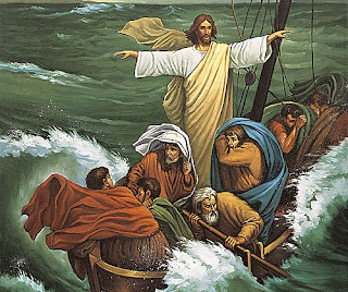 Jesus Christ with twelve apostles in the sea calming the sea storm with hands Beautiful color picture