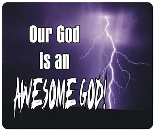 Our god is an awesome God spiritual saying about Jesus Christ with nature spark in the blue sky background pic