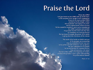 Praise the lord beautiful Pslam bible verse with blue sky and clouds background image