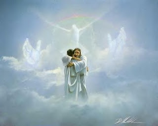 Jesus Christ holy spirit with god Jesus Christ welcoming the human in clouds of heaven with dove hd(hq) Christian religious wallpaper