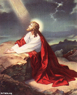 Jesus Christ praying the God in Gethsemane Garden with white and red dress color Christian religious photo