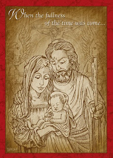 Child Jesus in Mother Mary hands beautiful lining sketch greeting card Christian religious ecard picture