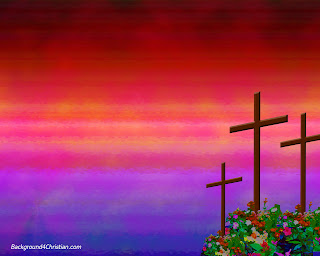 Three wooden Crosses of Jesus Christ with reddish blue power point background Christian religious picture gallery free download