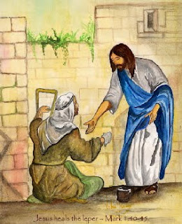 Jesus Christ heals the leper Mark Mark 1:40-45 bible story verse color clipart picture gallery