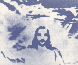 Drawing art Picture of Jesus in clouds of Blue sky religious Christian photo free download