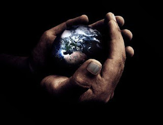 Earth(world) in the hands of God in space Inspirational Christian background picture for desktop