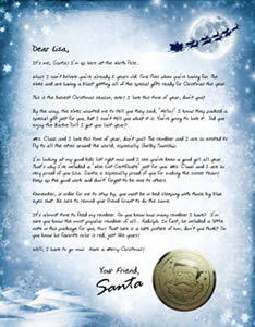 Signed Santa Claus letter to Children with beautiful night moon snow and sleigh(reindeer) of Santa background template download for free Christmas pictures for Christians