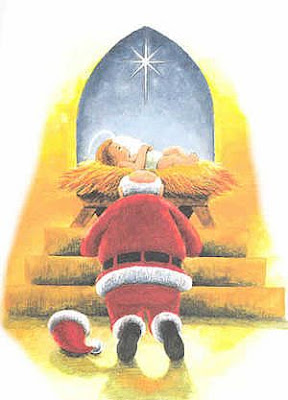 Santa kept his cap aside and praying Jesus by bowing on knees(kneeling) at stale(manager) drawing art photo free Christian Christmas Jesus birthday manger pictures download