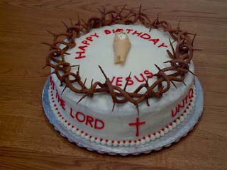 Happy Birthday Jesus Christmas cake decoration with Cross and Crown of thorns white cake on this festival Christmas day free download Christmas religious photos decorated and Christian pictures