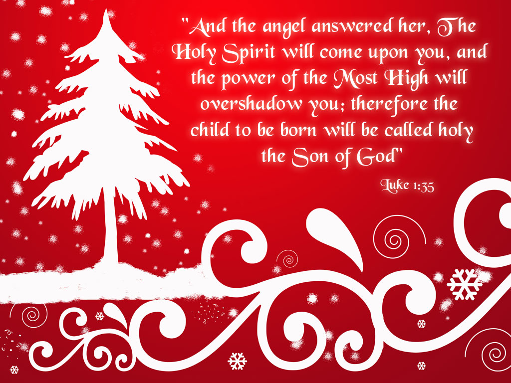 Exceptionnel Beautiful Snow Background Design Of Christmas Tree With Luke 1:35 Christmas  Bible Verse Photo