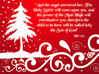 Beautiful snow background design of Christmas tree with Luke 1:35 Christmas bible verse photo about Son of God free Christian images download
