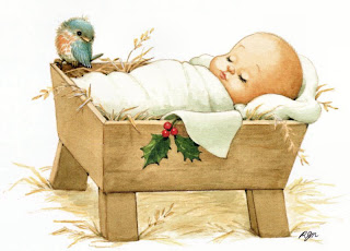Cute Jesus in the crib, born drawing art Christmas image free download Christian photos and religious images