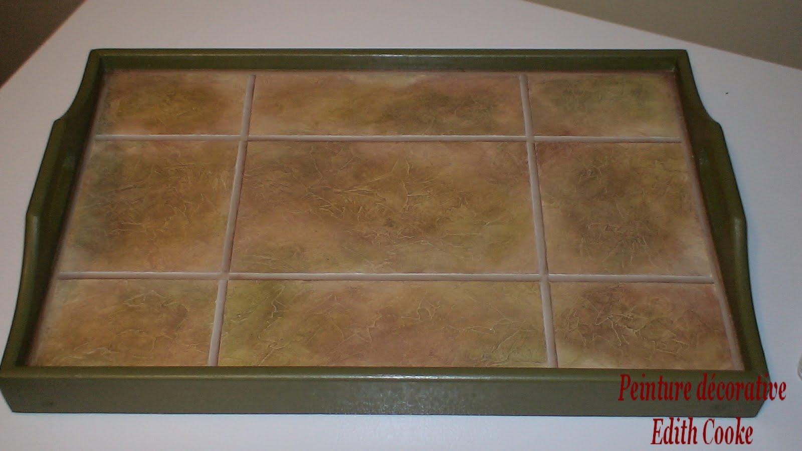 Peinture d corative edith cooke table en fausse c ramique - Fausse ceramique autocollante ...