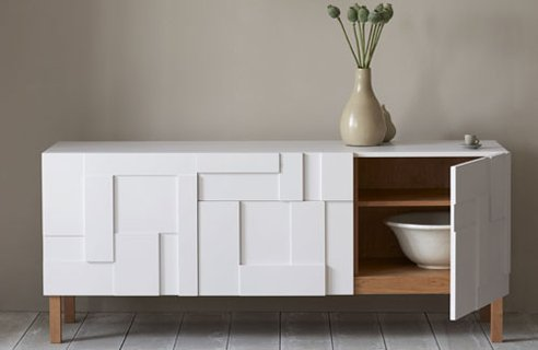 hmm should be too difficult to create with a neutral sideboard a handy hand and few wood boards and while i was strolling in the cabinet aisle