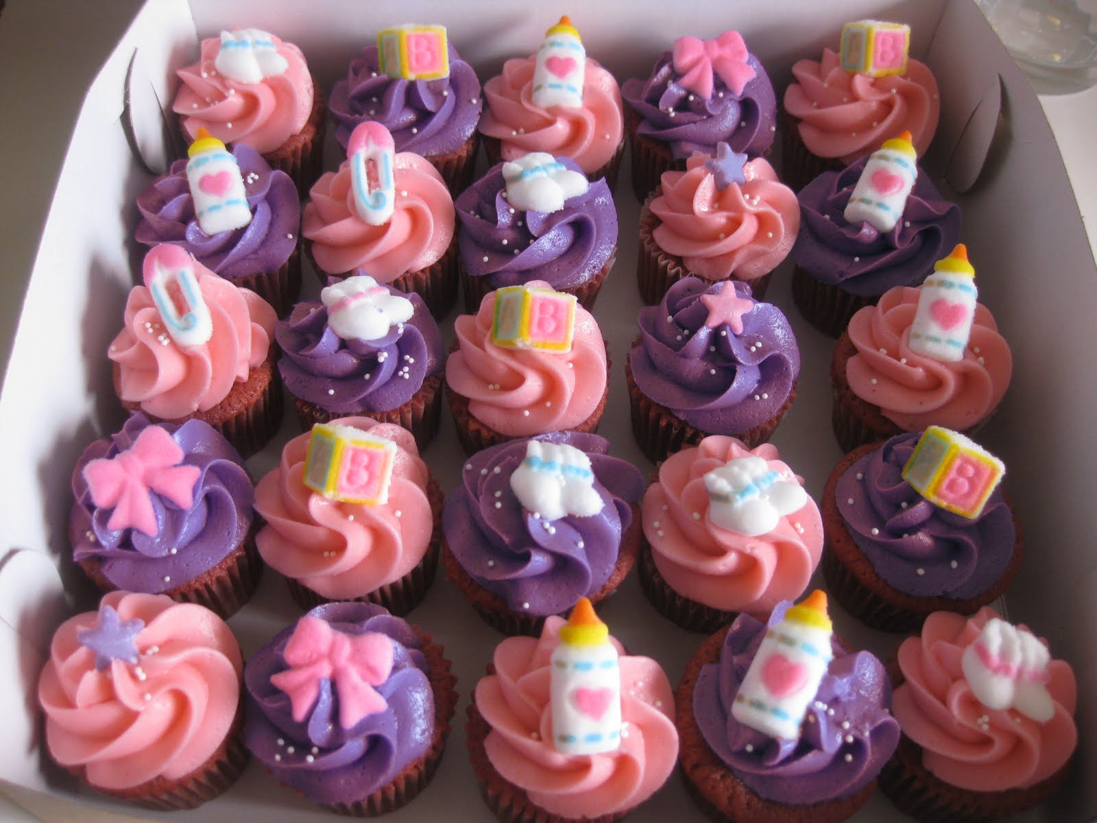 Pink and Purple Baby Shower Cupcakes 1600 x 1200