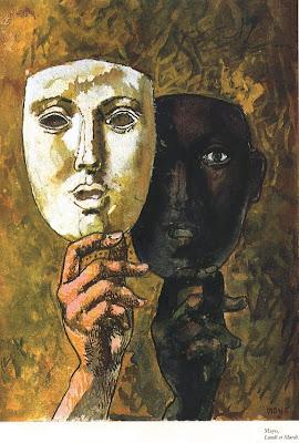 Des saules roche les masques de la personne