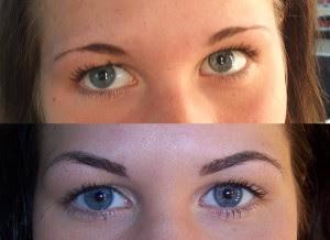 Exempel på fult gjorda ögonbryns tatu, hon i mitten! Man ser tydligt ...