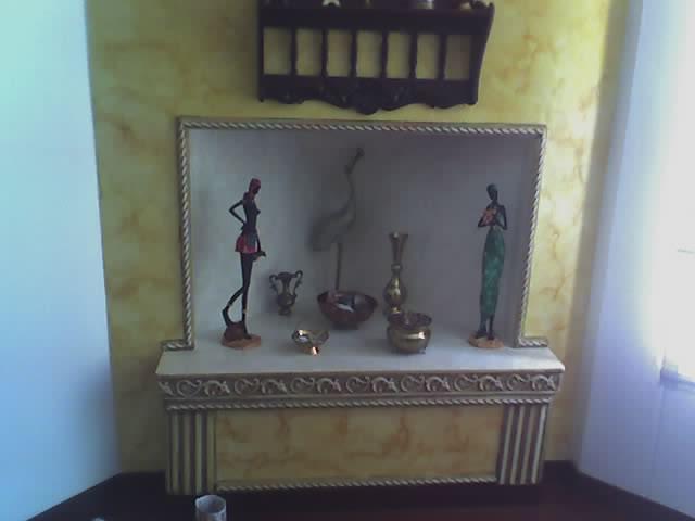 decoracion de chimenea y cornisa en oleo
