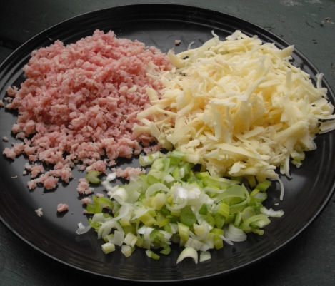 Kitchen Bounty: Mashed Potato Cakes with Ham, Cheese, and Scallions