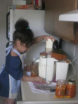 Nina making some carrot juice