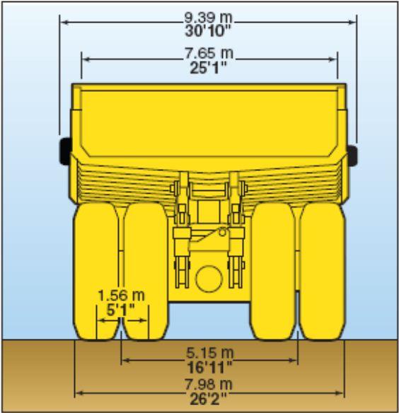 KOMATSU HAULPAK 860-E Rear Dimension