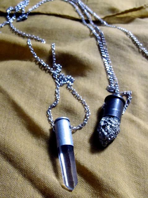 bullet casing quartz pyrite necklace