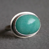 teal aqua blue amazonite silver ring