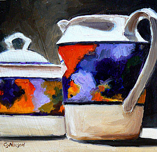 oil painting of Van Gogh pattern china by Carol Nelson