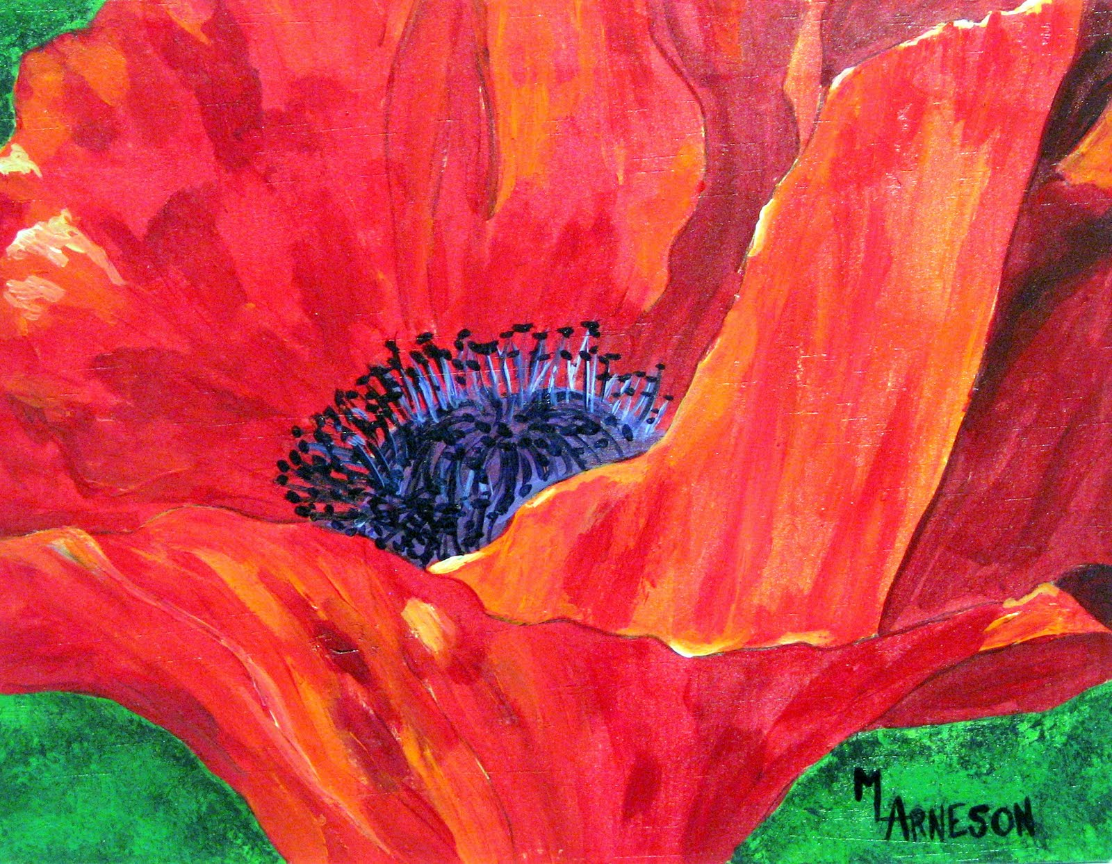 Poppy In Red quot  Flower Painting by Colorado Artist Mary ArnesonPoppy Flowers Painting