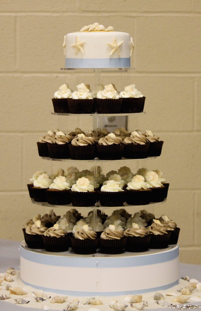 Beach Theme Wedding Cupcake Tower The Couture Cakery