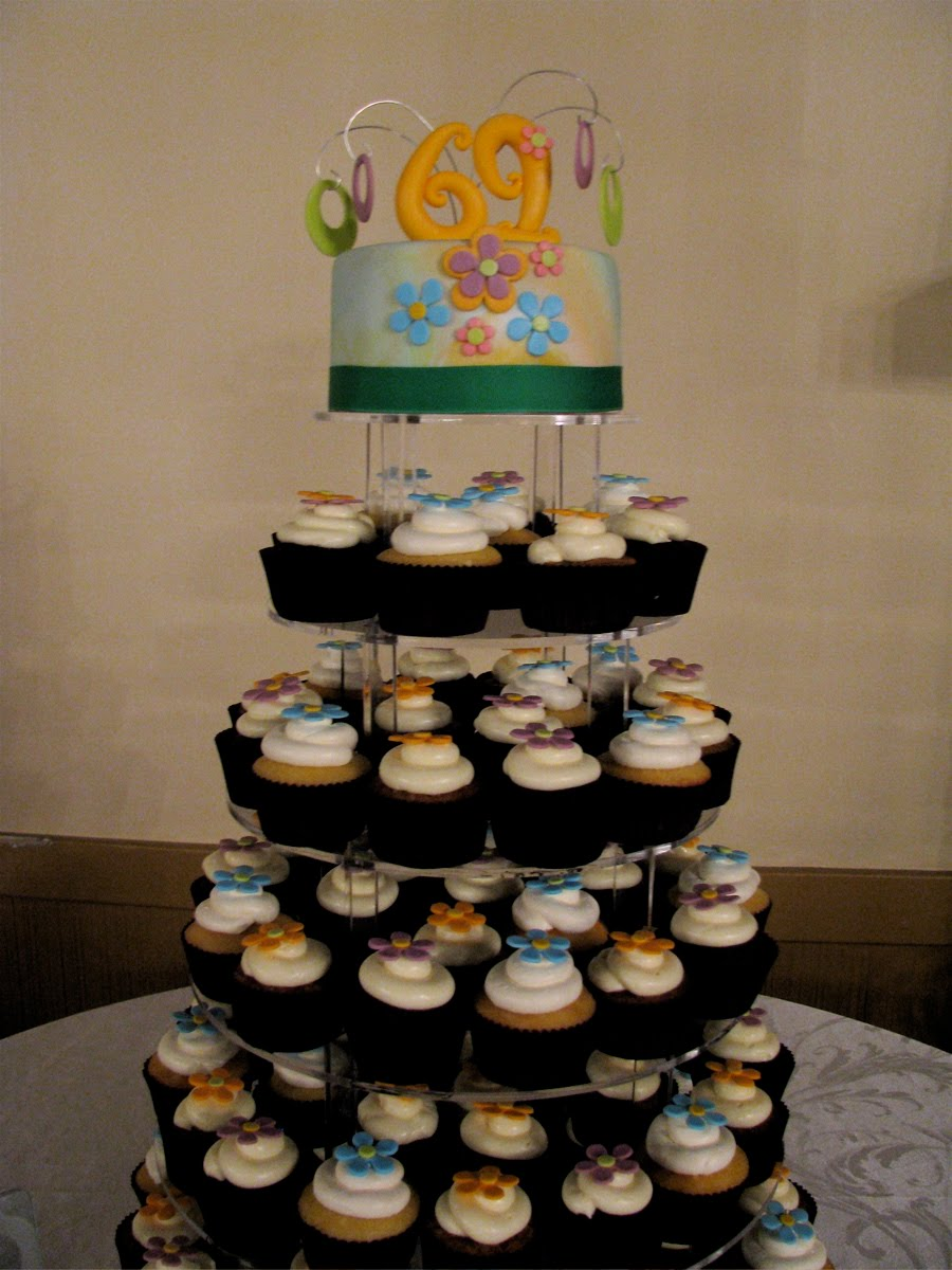 Uncategorized cupcake stands for weddings cheap - This Is A Cupcake Tower I Did Last Weekend For The Central Dauphin Class Of 1969 High School Reunion The Theme Was 60 S So I Incorporated 60ish Flowers On
