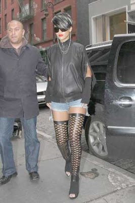 Rihanna Fishnet Stockings Public Pics