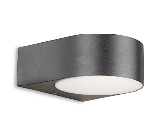 Nemesis Outdoor Curved wall Light IP44 satin gray 60W E27