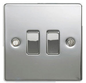 The Cheapest Switches - Stainless Flat Plate 2Gang