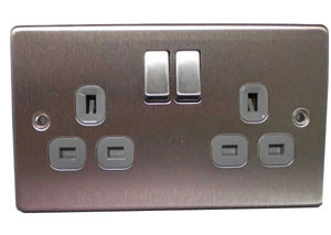 The Cheapest Sockets - Stainless Flat Plate 2G Twin Switched Socket
