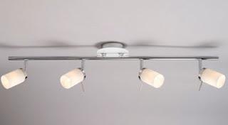 Deco four spotlights on a chrome bar, ceiling light