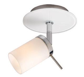 Deco Single Spotlight with gloss white glass and chrome finish