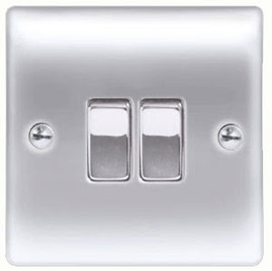 BG Nexus Metal Raised Plate Double 2 way switch, 2 gang 2W 10AX switch in Brushed Steel