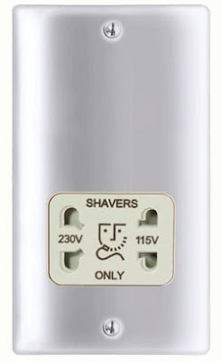 BG Nexus Metal Shaver socket 115/230V dual voltage in Brushed Steel