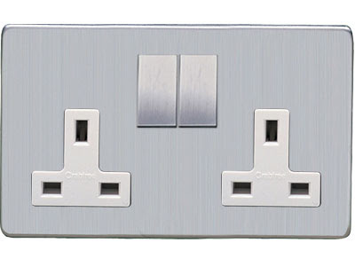 Heritage Brass Screwless range - Studio Range screwless 13 Amp Double Switched Socket