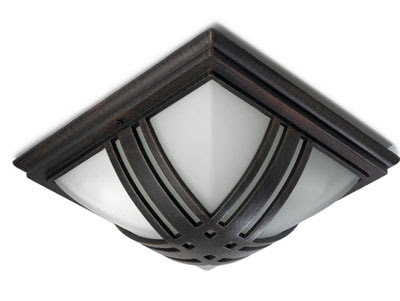 The LX210 Dionis Outdoor Ceiling Light, Bronze Flush Square IP23 rated