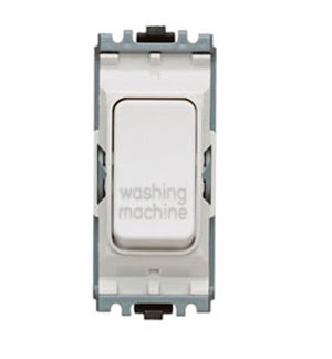 The K4896WMWHI - a MK Grid 20A DP Switch marked Washing Machine, double pole white washing machine switch