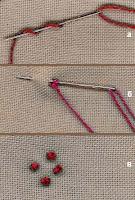 4. Цветы в веночке я вышивала французскими узелками теми же нитками.