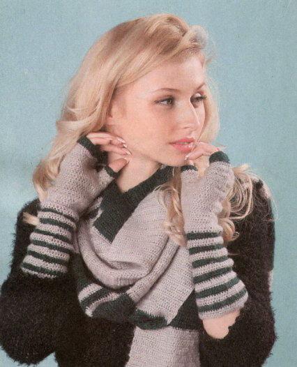вязание крючком, аксессуары, шарфы, митенки