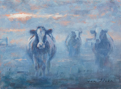 oil painting cow mist
