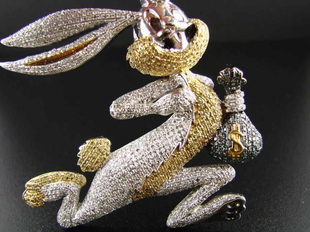 Newyorkjewels 10k cartoon bugs bunny diamond pendant charm 585 ct newyorkjewels aloadofball Images
