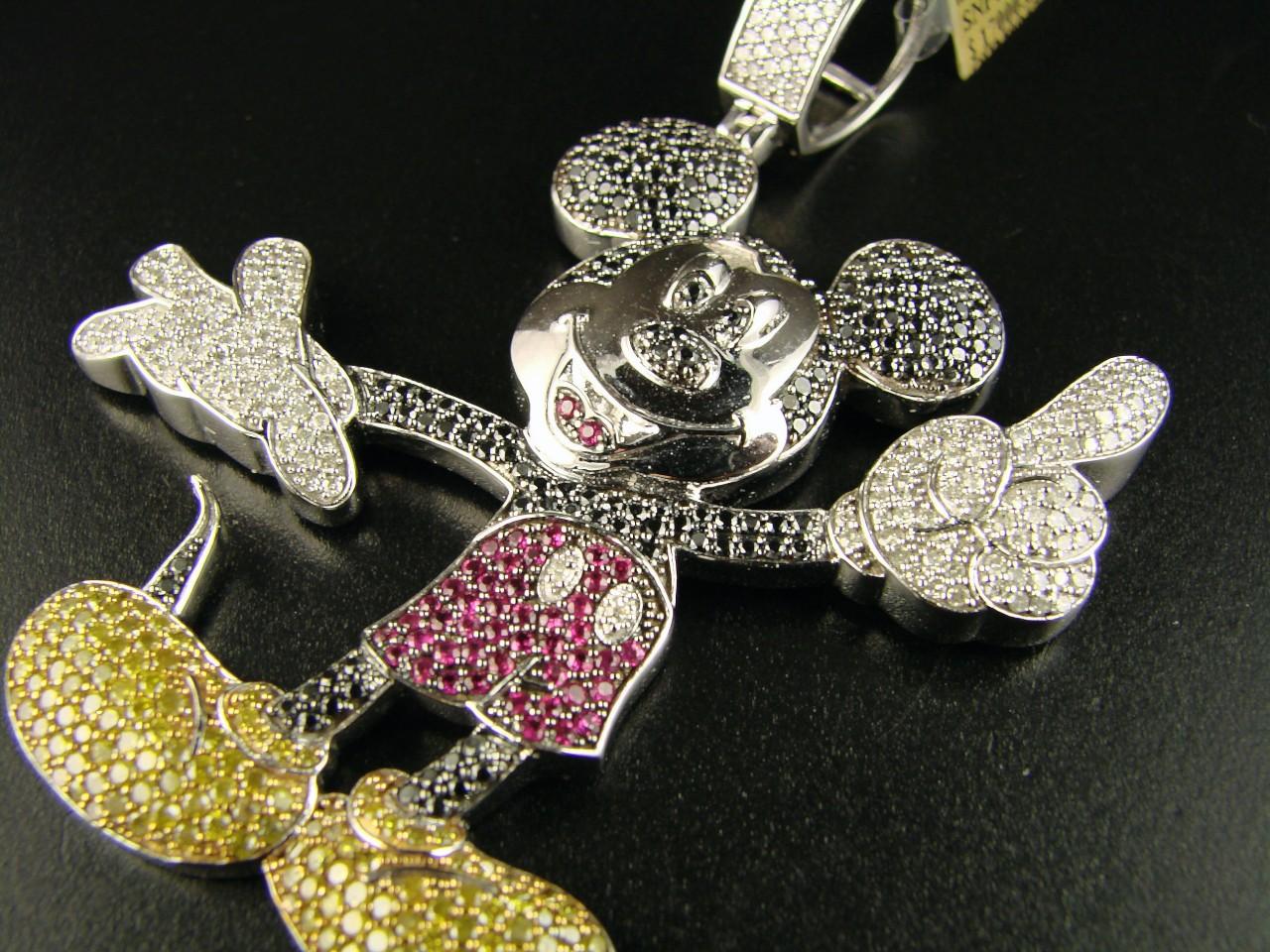 Newyorkjewels 10k cartoon mickey mouse diamond pendant charm 785 ct 10k cartoon mickey mouse diamond pendant charm 785 ct aloadofball Images