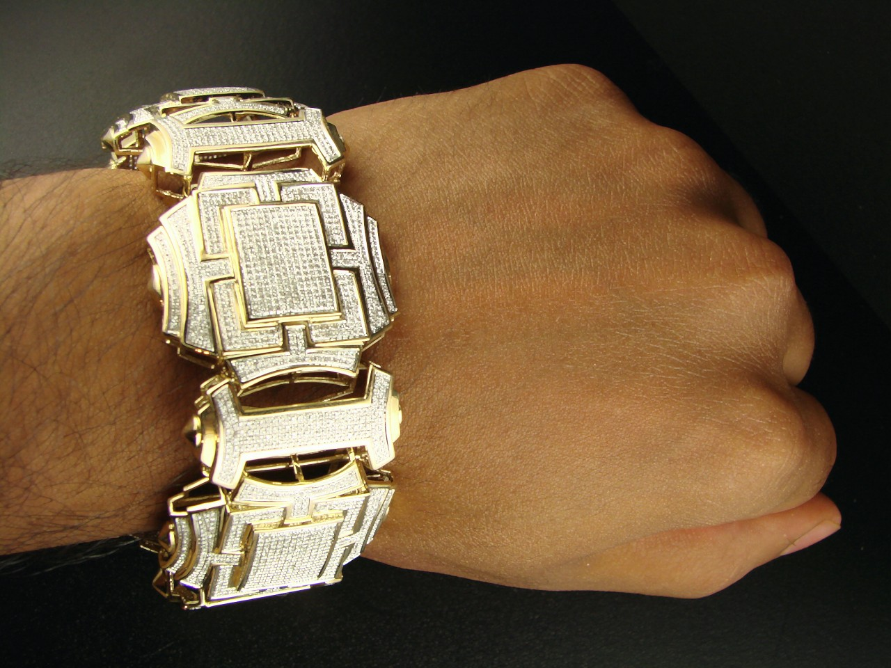 Newyorkjewels MENS XXL YELLOW GOLD DIAMOND 39 MM